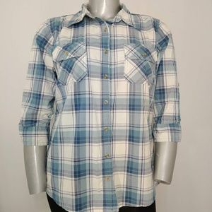 Carhartt Blue Cotton Plaid Button Fitted Shirt 16W